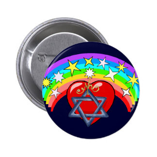 Rainbow and Jewish Stars Pinback Buttons