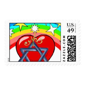 Rainbow and Jewish Stars Postage