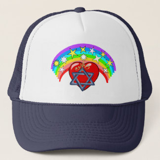 Rainbow and Jewish Stars Trucker Hat