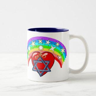 Rainbow and Jewish Stars Two-Tone Coffee Mug