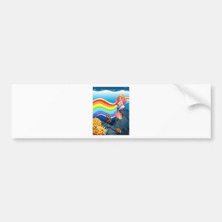 Rainbow and mermaid bumper sticker