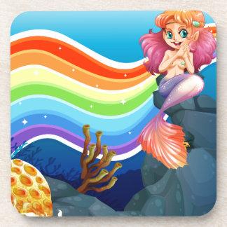 Rainbow and mermaid coaster