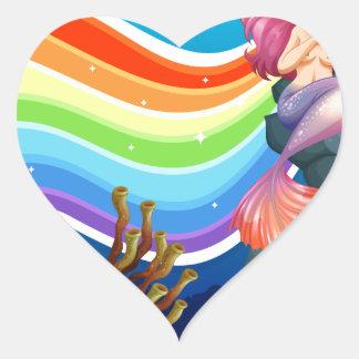 Rainbow and mermaid heart sticker