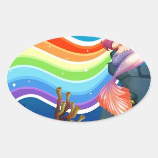 Rainbow and mermaid oval sticker