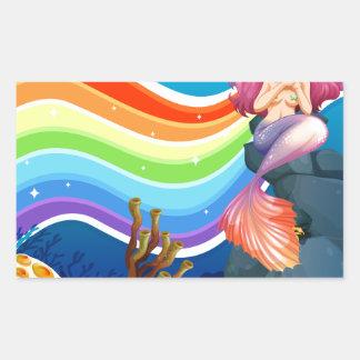 Rainbow and mermaid rectangular sticker