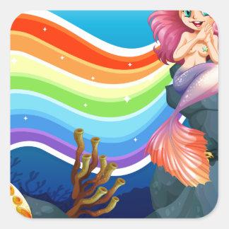 Rainbow and mermaid square sticker