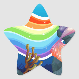 Rainbow and mermaid star sticker