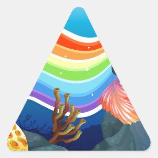 Rainbow and mermaid triangle sticker