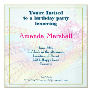 Rainbow and Music Notes party Card