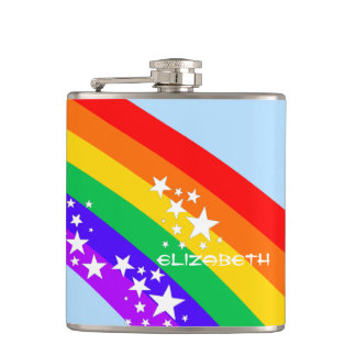 Rainbow and Stars-Personalized Flask