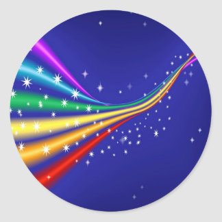 Rainbow and Stars Classic Round Sticker