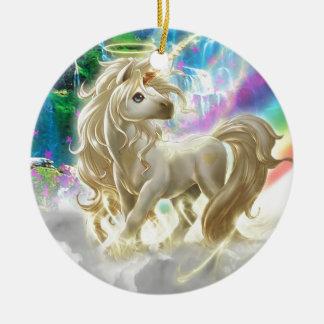 Rainbow And Unicorn Ceramic Ornament