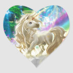 Rainbow And Unicorn Heart Sticker