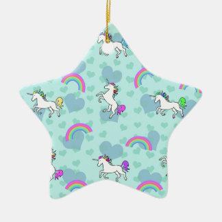 Rainbow and Unicorn Psychedelic Blue Design Ceramic Ornament