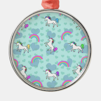 Rainbow and Unicorn Psychedelic Blue Design Metal Ornament
