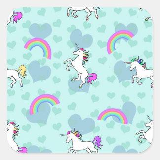 Rainbow and Unicorn Psychedelic Blue Design Square Sticker
