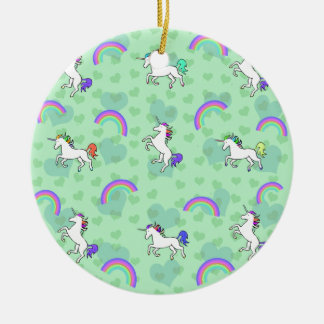 Rainbow and Unicorn Psychedelic Green Design Ceramic Ornament