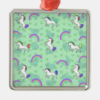 Rainbow and Unicorn Psychedelic Green Design Metal Ornament