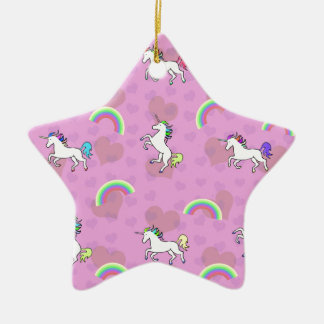 Rainbow and Unicorn Psychedelic Pink Design Ceramic Ornament