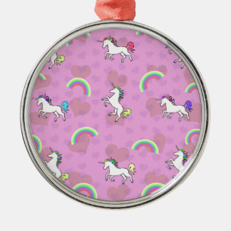 Rainbow and Unicorn Psychedelic Pink Design Metal Ornament