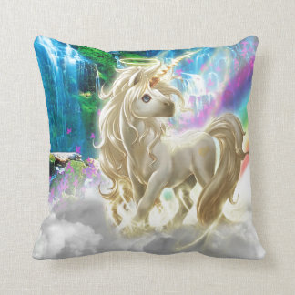 Rainbow And Unicorn Throw Pillow