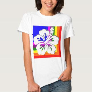 Rainbow and white hibiscus design t shirt