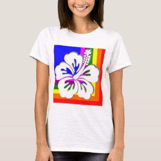 Rainbow and white hibiscus design T-Shirt