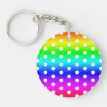 Rainbow and White Polka Dots Double-Sided Round Acrylic Keychain