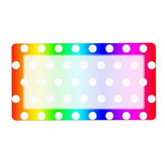 Rainbow and White Polka Dots Custom Shipping Labels