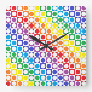Rainbow and White Squares and Polka Dots Square Wall Clock