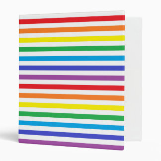 Rainbow and White Stripes 3 Ring Binder