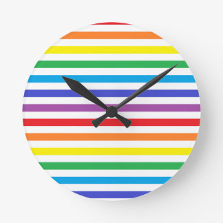 Rainbow and White Stripes Clock