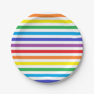 Rainbow and White Stripes Paper Plates