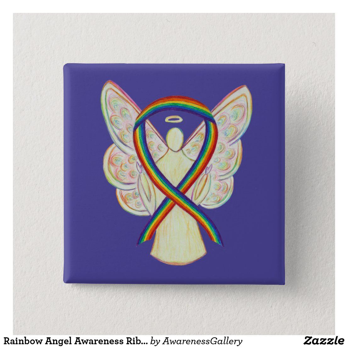 Rainbow Angel Awareness Ribbon Custom Art Pins