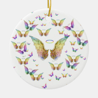 Rainbow Angel Wings and Halos Ceramic Ornament