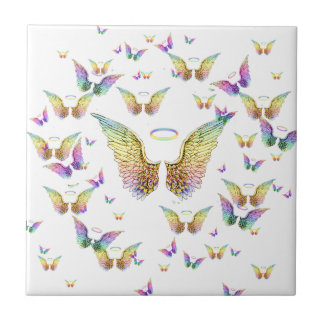 Rainbow Angel Wings and Halos Ceramic Tile