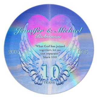 Rainbow Angel Wings and Heart Dinner Plate
