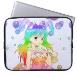 Rainbow Anime Bunny Girl Laptop Sleeve