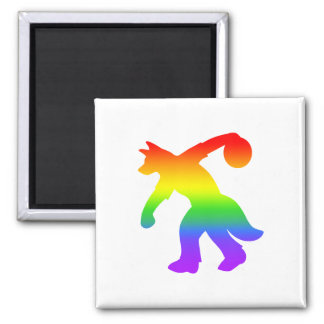 Rainbow Anthropomorphic Canine Bowling Magnet 0001