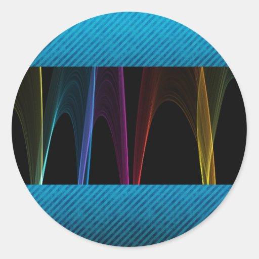 Rainbow Arches and Blue Grunge Classic Round Sticker