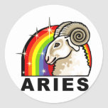Rainbow Aries Round Stickers