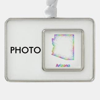 Rainbow Arizona map Christmas Ornament
