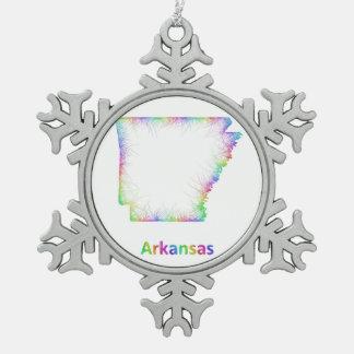 Rainbow Arkansas map Snowflake Pewter Christmas Ornament