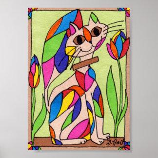 Rainbow Art Deco Cat Mini Modern Art Poster