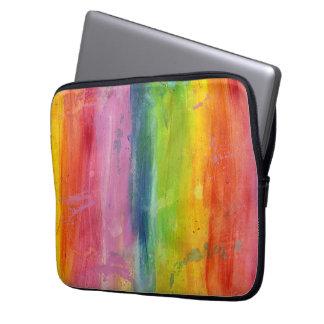 Rainbow art paint stripe arty colorful laptop case computer sleeve
