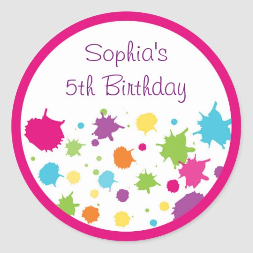 Rainbow Art Party Birthday Classic Round Sticker