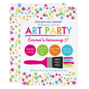 Rainbow Art Party Birthday Invitation