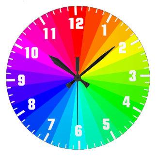 Rainbow art wheel large clock