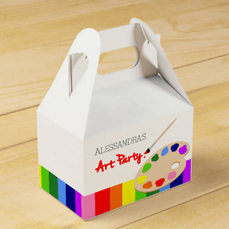 Rainbow Artist Palette Painting Birthday Party Favor Box