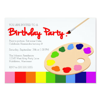 Rainbow Artist Palette Painting Birthday Party Invitation